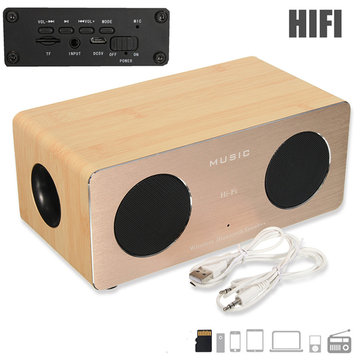 De madeira Dual MIC Handsfree AUX HIFI Wireless Bluetooth Speaker Para iPhone Samsung