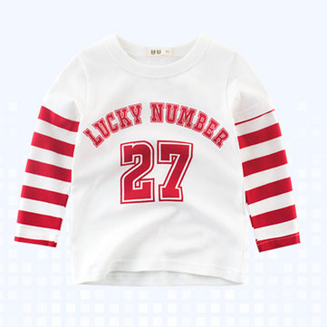 Boys Kids Sport Lucky Number Print Striped Patchwork T-Shirts