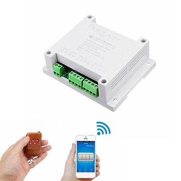 AC 220V 10A Control Smart Switch Point remoto Relay 4 Channel WiFi Module con controller Shell e 433M remoto