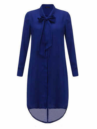 Women Casual Loose Bowknot Long Sleeve Solid Color Shirt Dress