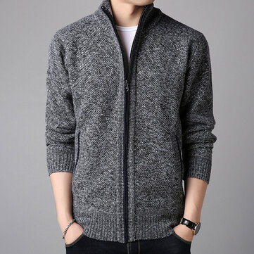 Men's Wool Casual Breathable Comfy Fit Pure Color Long Sleeve Sweater Cardigans