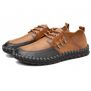 Menico Men Retro Hand Stitching Soft Casual Business Leather Oxfords