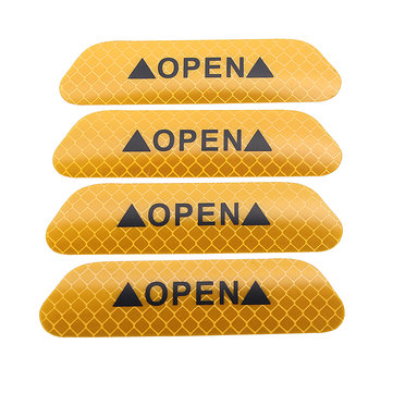 4Pcs Reflective Door Open Warning Stickers Collision Warning Decals for Car Motorcycle