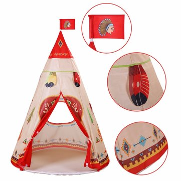 160 x 105cm Children Indian Toy Teepee Safety Tent Portable Play House Kids Indoor Game Room Outdoor Tourist