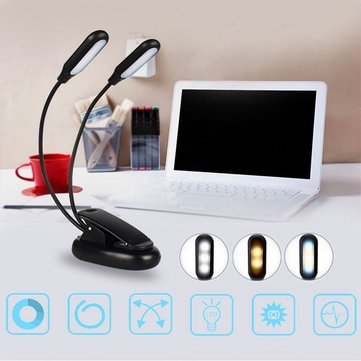 Double heads 10 LED Clip Table Light 3 Modes Dimming Battery powered Desk Lamp for Reading working