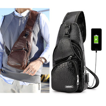 Men Resistant Anti Theft Crocodile Pattern Chest Bag Travel Daypack with USB Charging Port