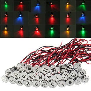 12 8mm LED Dash Panel Warning Light Indicator Lamp With Line And Symbol For Car Boat