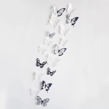 18 Pcs 3D Butterflies Wall Sticker PVC DIY Removable Decor Waterproof Wall Stickers Mural Decoration for Bedroom Living Room Household Home Wall Stickers