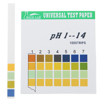 Universal PH Test Strips Full Range 1-14 Indicator Paper Tester 100 Strips Boxed w/ Color Chart