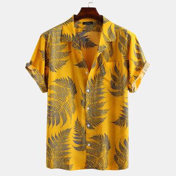 أوراق الصنوبر طباعة القطن قمصان قصيرة الأكمام استرخاء