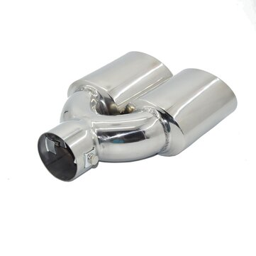 Universal Chrome Stainless Steel Car Exhaust Dual Tailpipe Tips 60mm