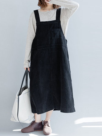 Casual Women Solid Color Loose Strap Dress with Pocket