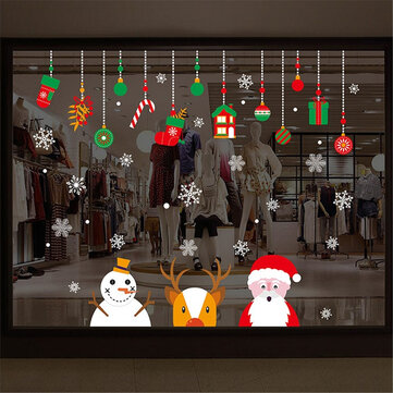 Christmas Window Wall Sticker Snowman Santa Snowflake Reindeer Removable Home Decor
