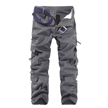 Mens Solid Color Multi-Pockets 100%Cotton Casual Cargo Pants Outdoor Straight Trousers