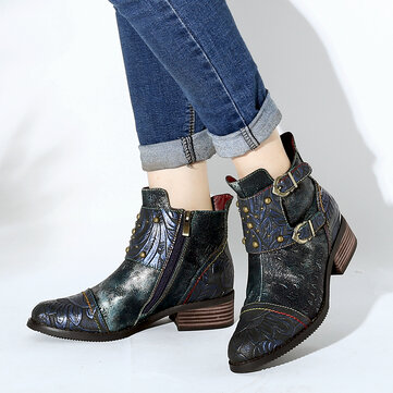 Socofy Women Splicing Rivet Buckle Genuine Leather Handsome Ankle Boots