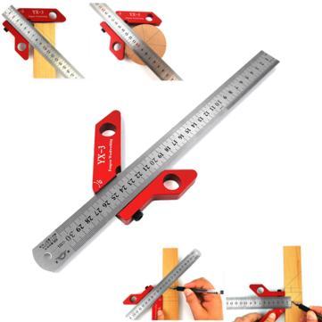 Drillpro YX-3 Woodworking Magnetic Center Scriber Finder 45 90 Degrees Angle Line Caliber Ruler Metric and Inch Wood Measuring Scribe Tool