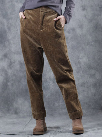 Plus Size Women Corduroy Trousers Solid Color Button Straight Pants with Pockets