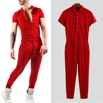 Men Short Sleeve Jumpsuit Lapel Neck Romper Bodybuilding Overalls Pants Playsuit