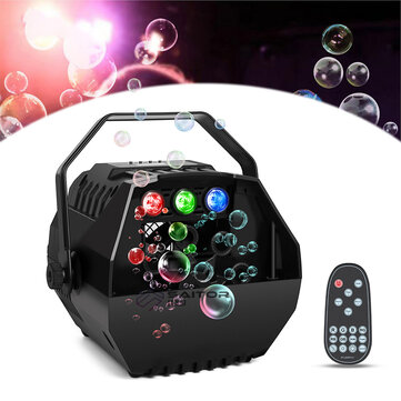 BS-102B Bubble Blower Remote Control LED Lamp Romantic Stage Light Wireless Automatic Bubble Machine Great for Wedding Birthday Parties