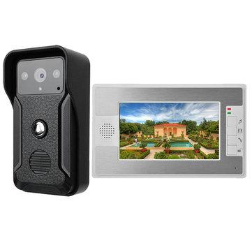 7 Inch Wired Video Door Phone Doorbell Intercom Kit 1-camera 1-monitor Night Vision Doorbell