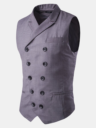 Mens British Style Slim Fit Business Fashion Casual Double Breasted Waistcoats