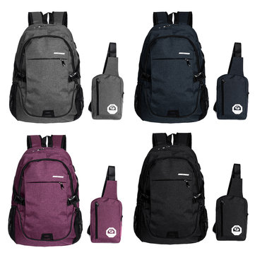Laptop Backpack Bag Crossbody Bag with External USB Charging Port For MacBook Laptop