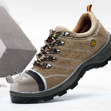 Men Steel Toe Puncture Proof Outdoor Hiking Safety Work Shoes