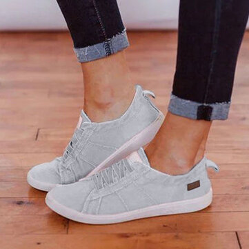 Large Size Women Casual Canvas Lace Up Flats