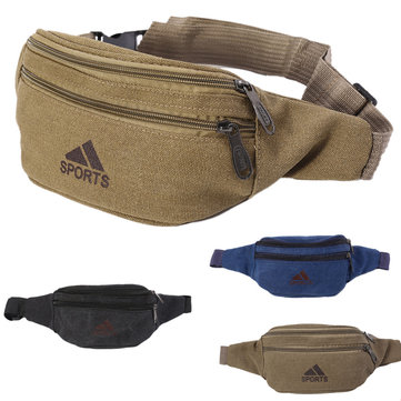 Men Canvas Waist Bag Outdoor Camping Hiking Traveling Sports Bag Storage Bag