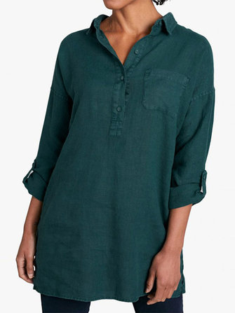 Casual Women Turn Down Collar Loose Long Sleeve Shirts with Pockets