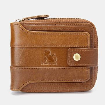 Heren RFID Vintage lederen korte rits 12 kaartsleuven Coin Bag portemonnee