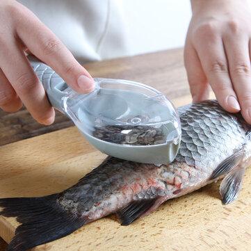 Fischschuppen-Entfernungswerkzeug mit Deckel Küchenschuppen-Schaber Manuelles Fischschuppen-Werkzeug