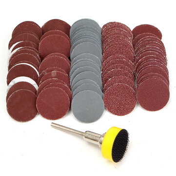 "100Pcs 1"" 100 180 240 1500 3000 Grit Sanding Disc Hook Loop Sandpaper +Shank"