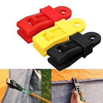 24 PCS Plastic Reusable Tent Clip Tent Buckle Outdoor Camping Tent Tool-Yellow/Red/Black