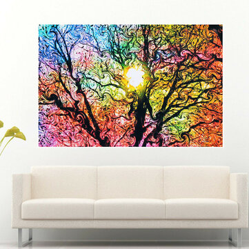 Beautiful Abstract Colorfull Sun Tree Art Silk Cloth Poster Wallpaper Decoration Poster Print Wall Sticker