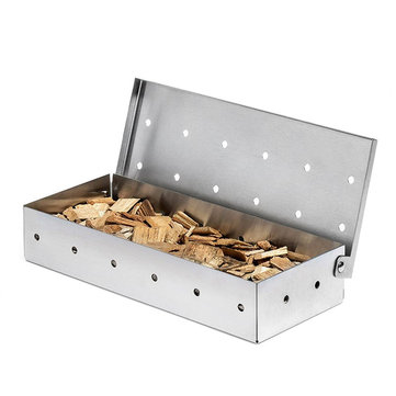 8.8inch Stainless Steel Wood Chips Box Outdoor Camping Traveling BBQ Box BBQ Cooking Stove BBQ Grill