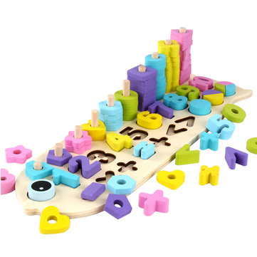 Children Wooden Montessori Learning Count Numbers Matching Digital Shape Match Early Education Teaching Toys