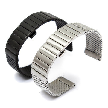 24mm Double Butterfly Buckle Fold Stainless Steel Watch Band