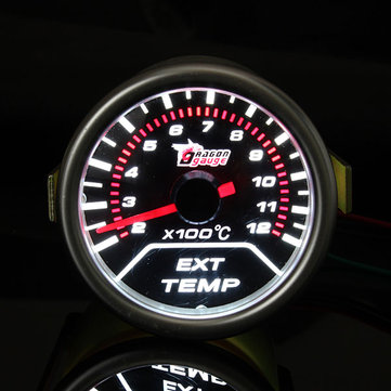 2 Inch 52MM Universal Car Red Led Exhaust Gas Temperature Temp EGT
